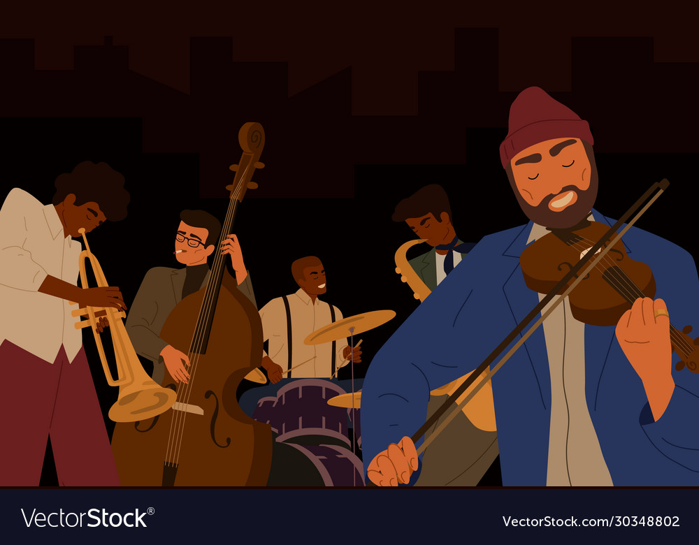Team hipster male jazz band playing at musical