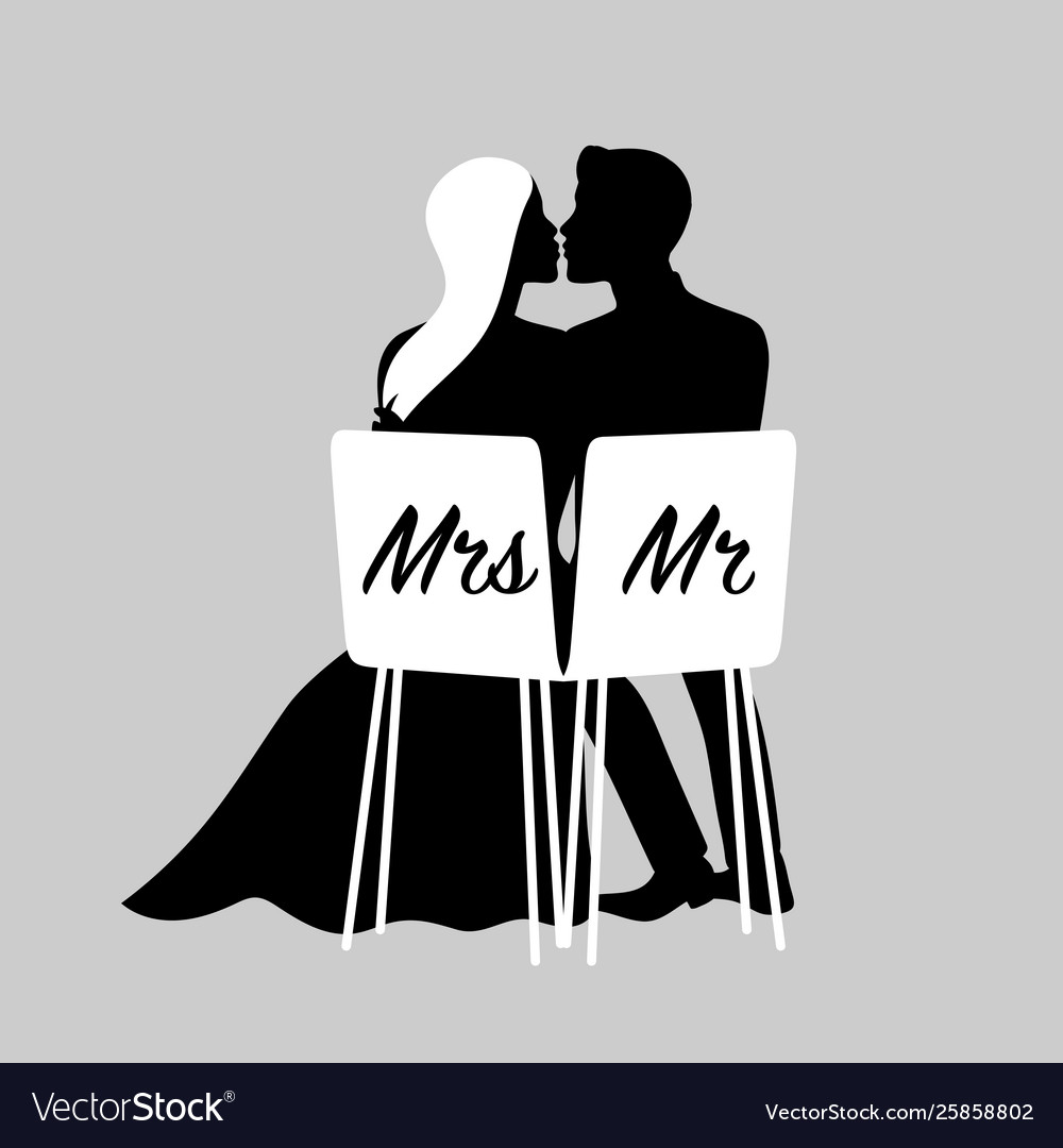 Wedding couple silhouettes