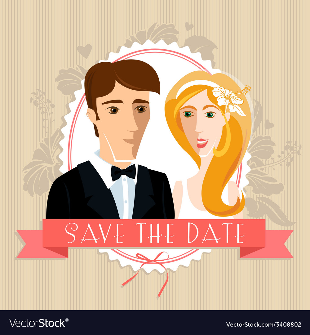 Wedding invitation card with wedding couple