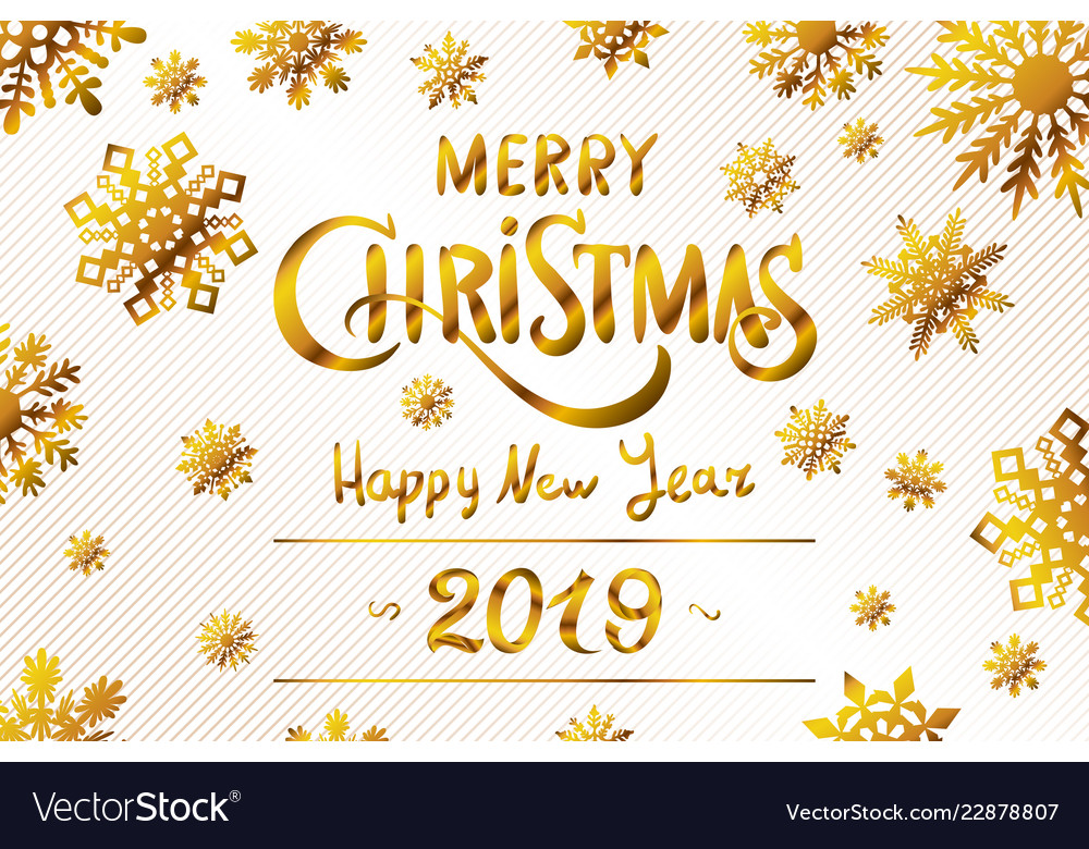 2019 happy new year numeral text hand lettering