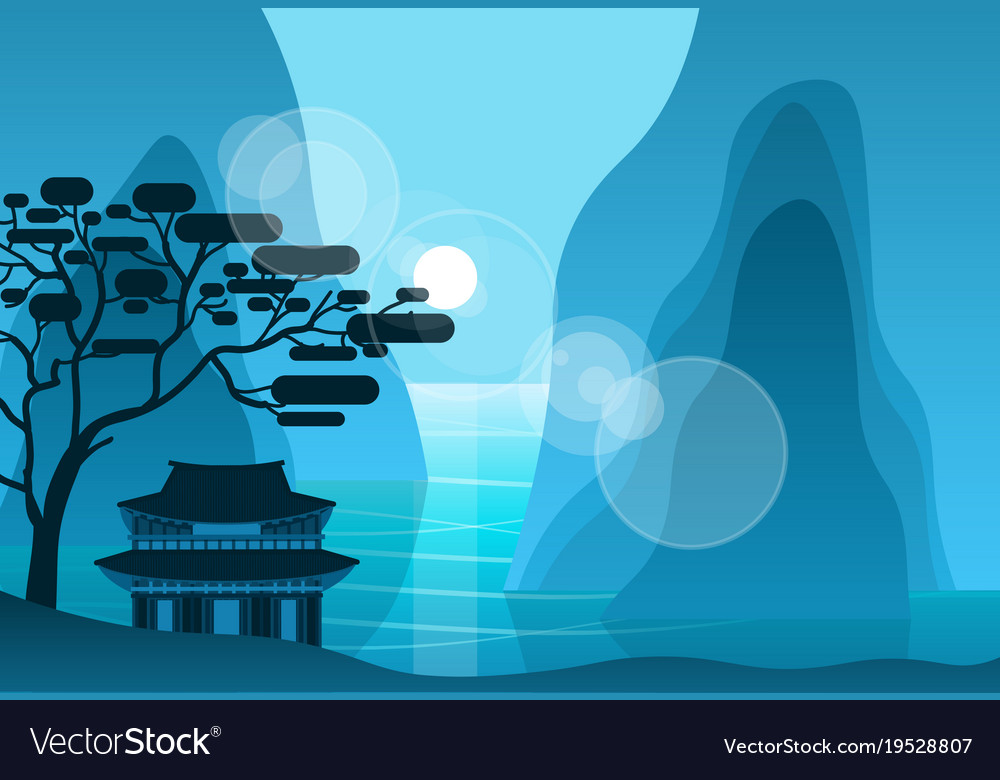 Asian temple in mountains in night on background