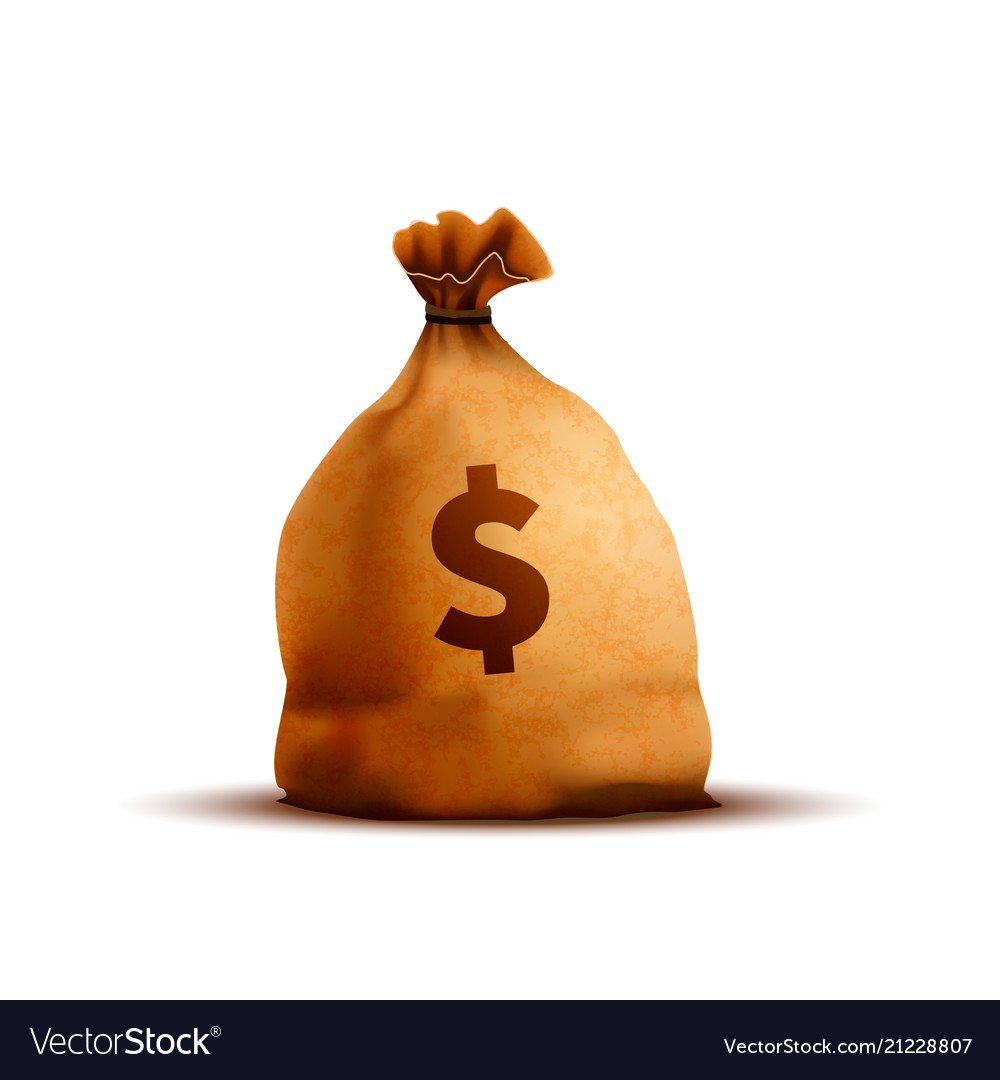 Bright old brown money bag with texture and dollar