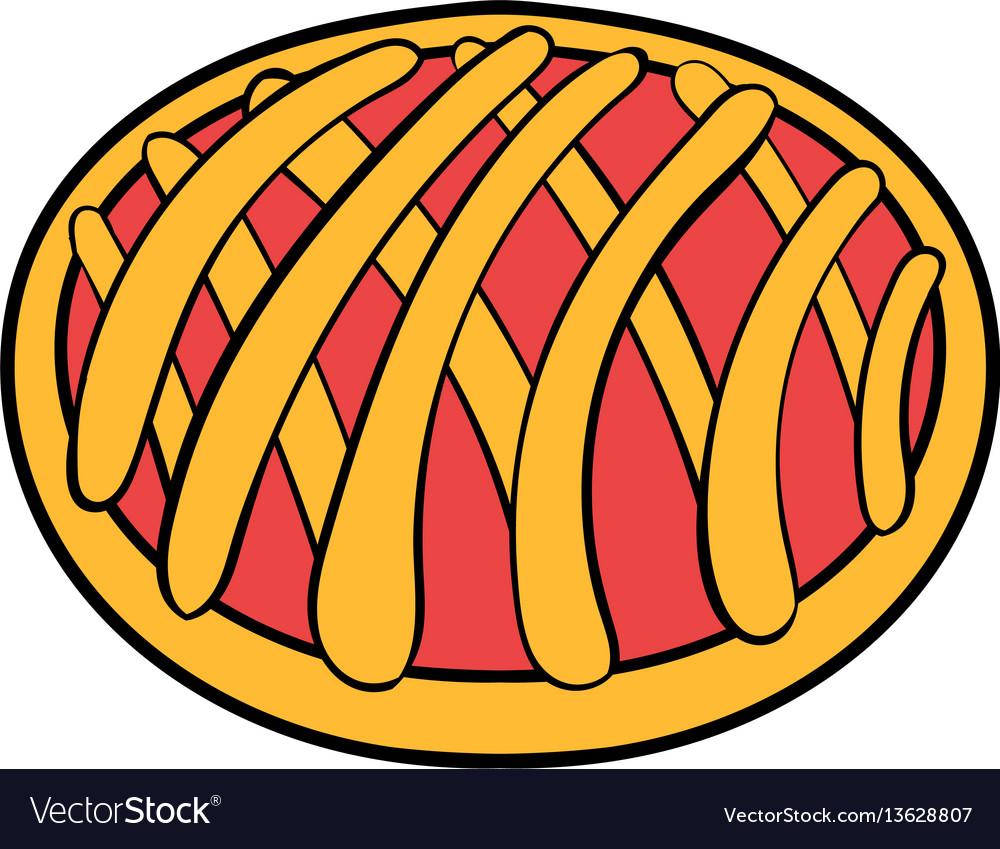 Cherry pie icon cartoon