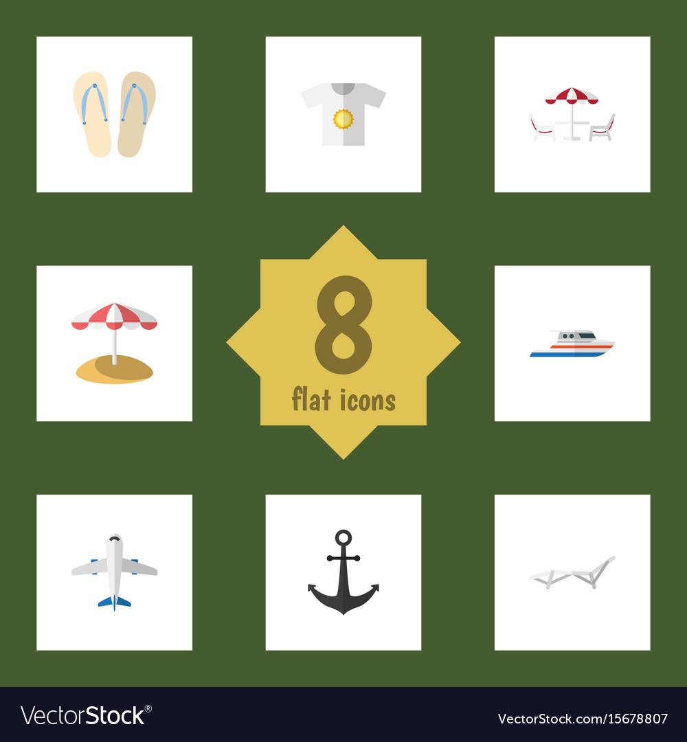 Flat icon season set of deck chair parasol boat