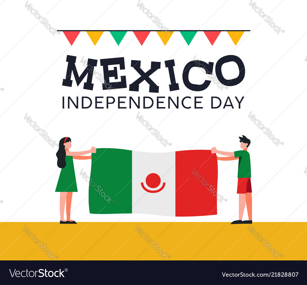 Mexico independence day friends with mexican flag