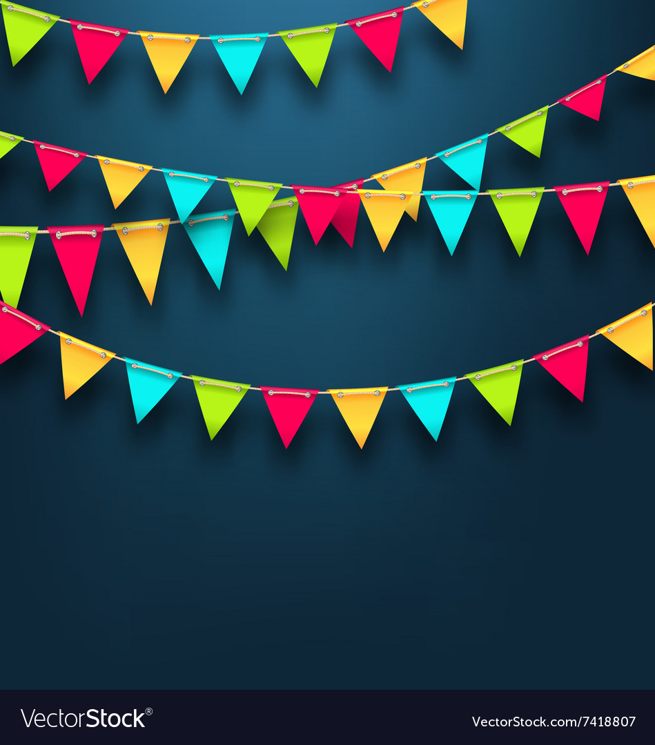 Party Dark Background with Bunting Flags for