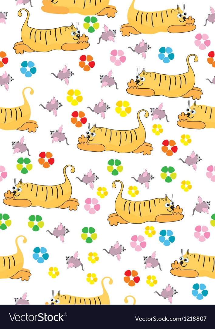 Seamless background with orange cat and pink mouse vector image