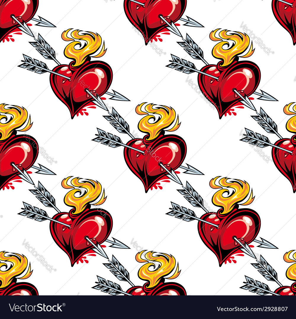 Seamless pattern of valentine hearts and arrows
