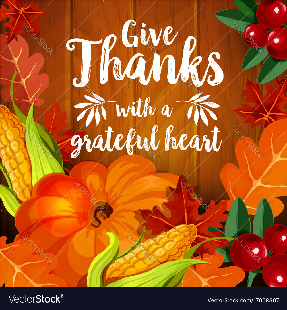 Thanksgiving greeting card for autumn holiday vector image m4hsunfo