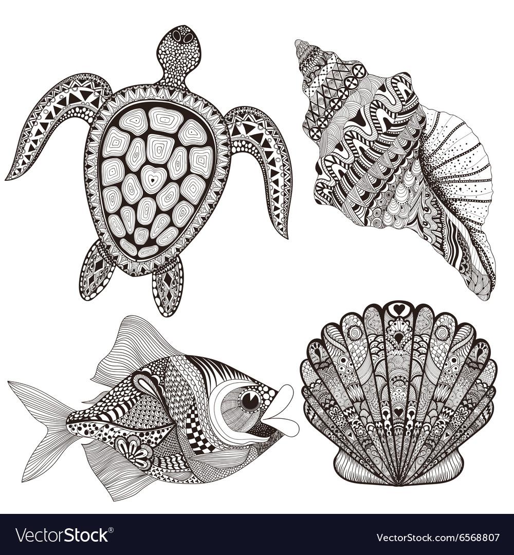 Zentangle stylized black sea shells fish and