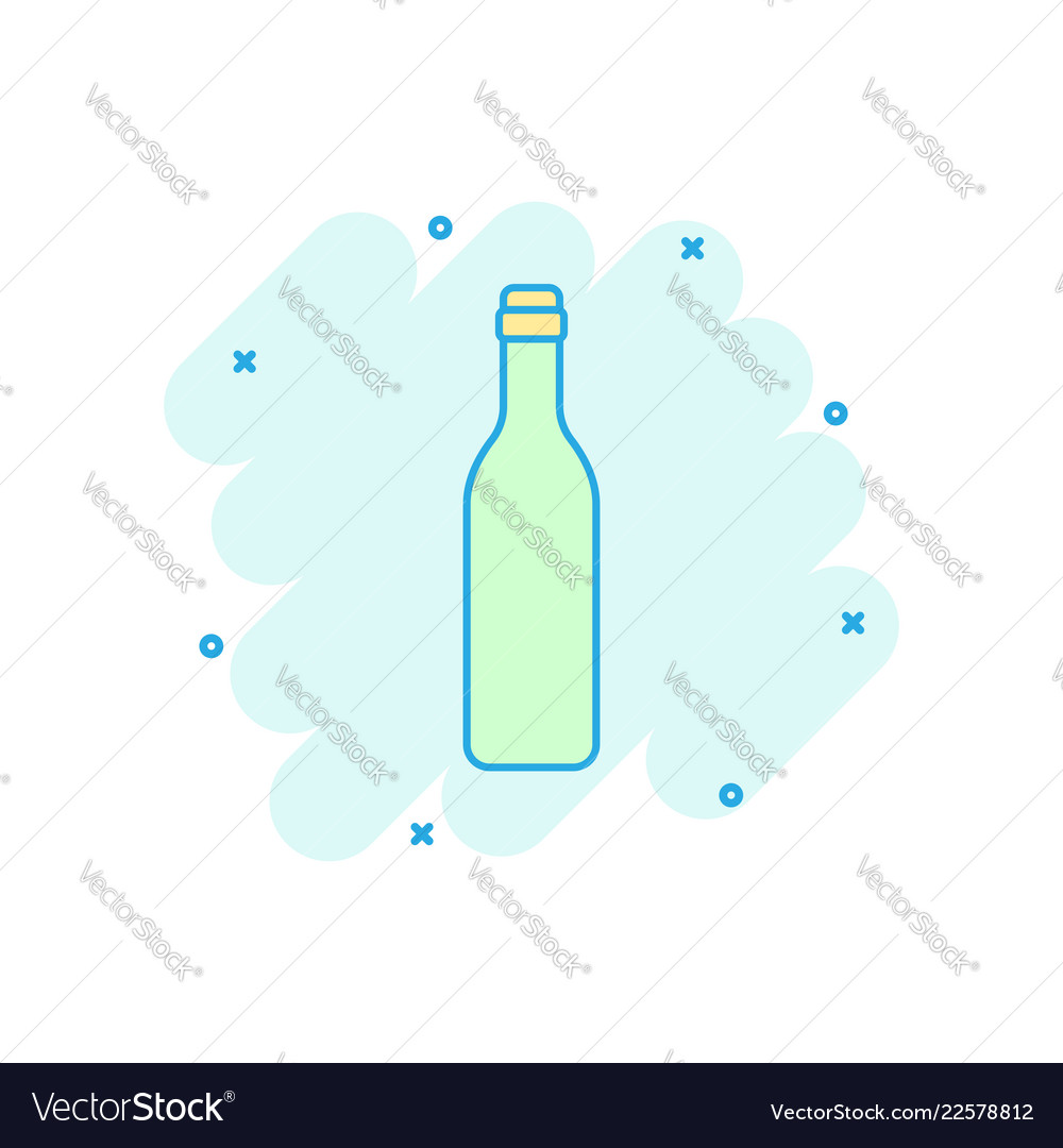 Cartoon wine beer bottle icon in comic style