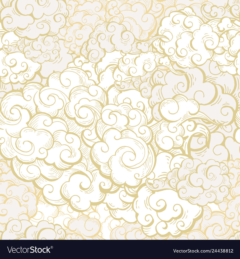 Chinese clouds color seamless pattern