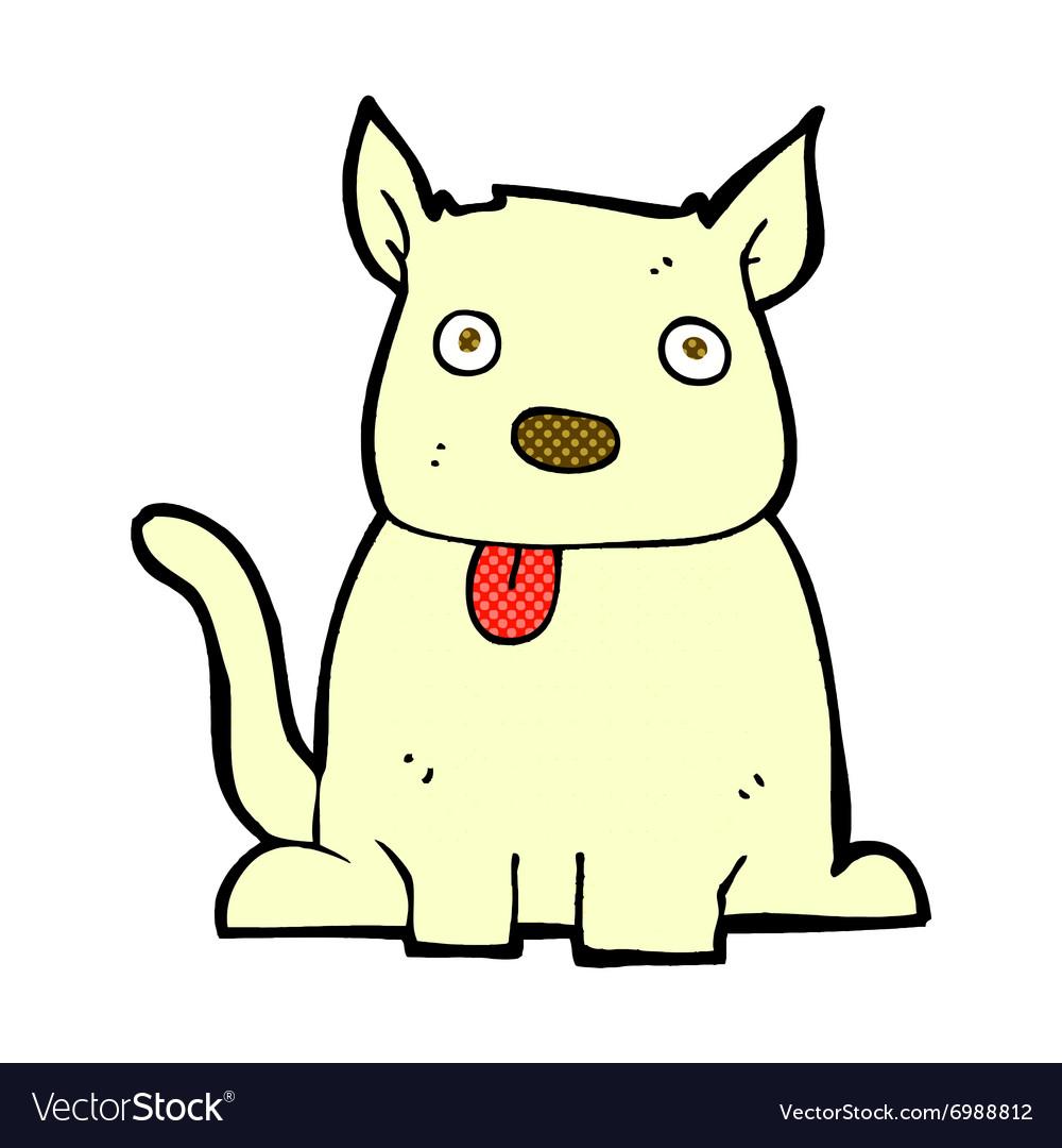 Comic cartoon dog sticking out tongue