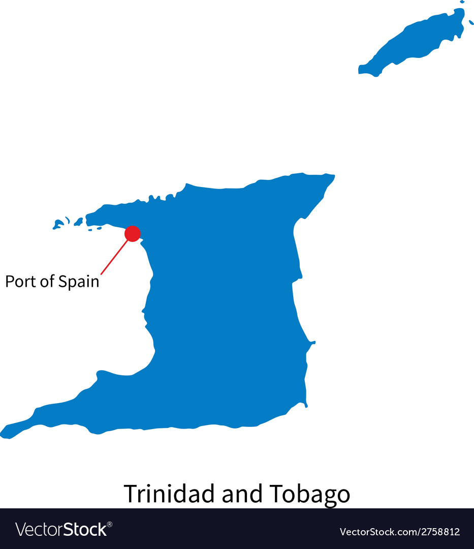 Detailed map of Trinidad and Tobago and capital