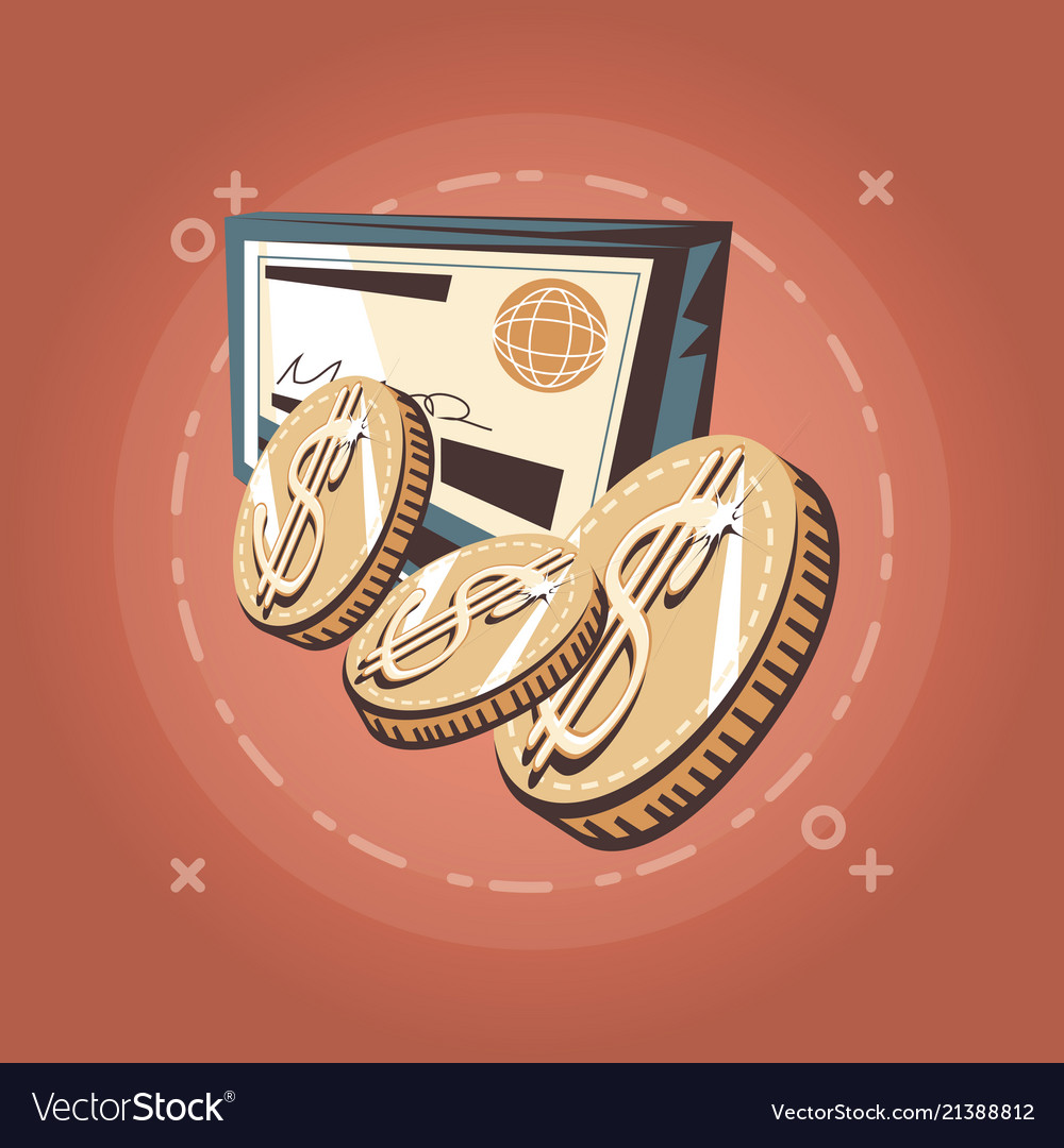 Retro Design Bank.Dollar Coins And Bank Check Retro Shopping Style Vector Image
