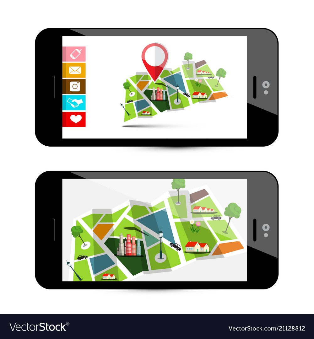 Gps navigation concept with city map - smartphone vector image