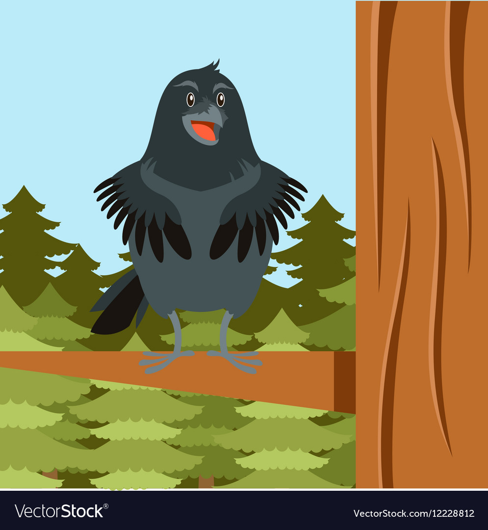 Happy raven on tree winter flat background