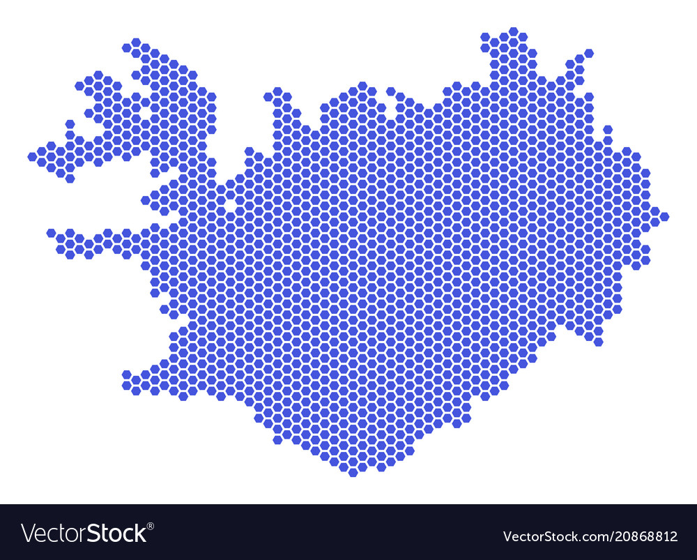 Hex tile iceland map Royalty Free Vector Image