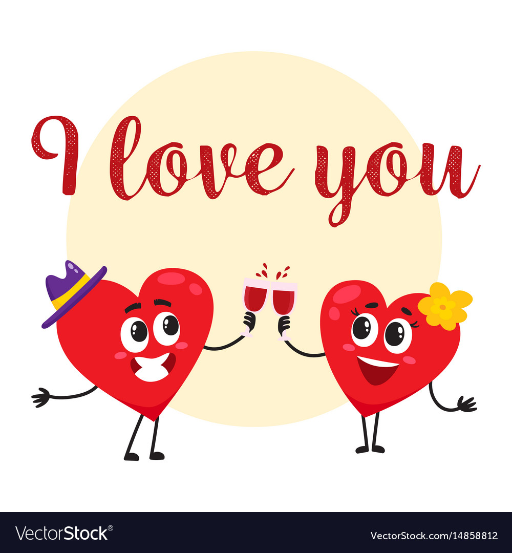 I love you - greeting card design with heart