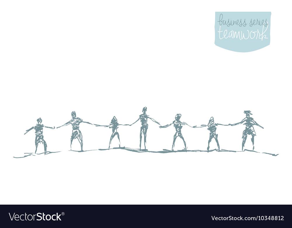 People hold handsspirit togetherness drawn