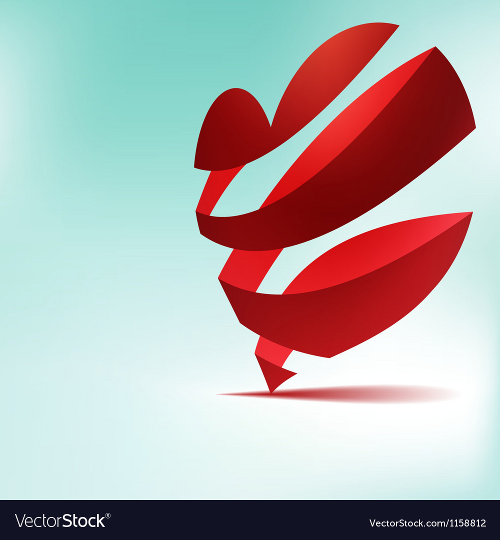 Red heart from ribbon Valentines day EPS8 vector image