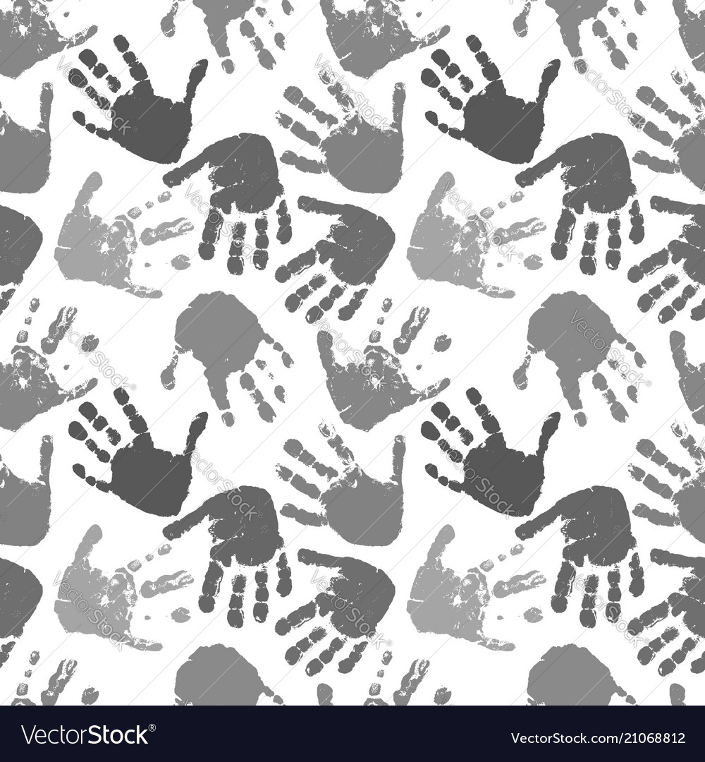 Seamless pattern of prints of hands