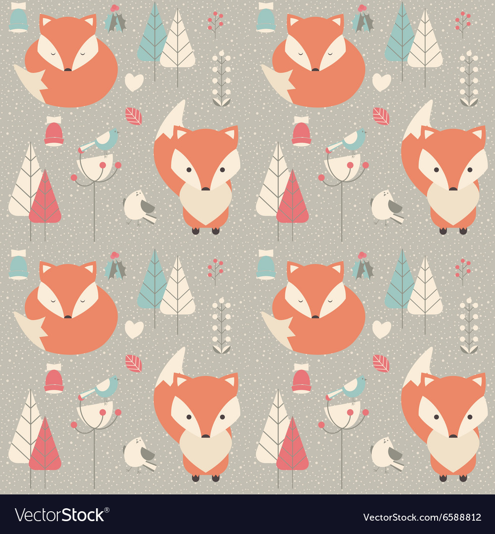 Seamless pattern with cute Christmas baby fox