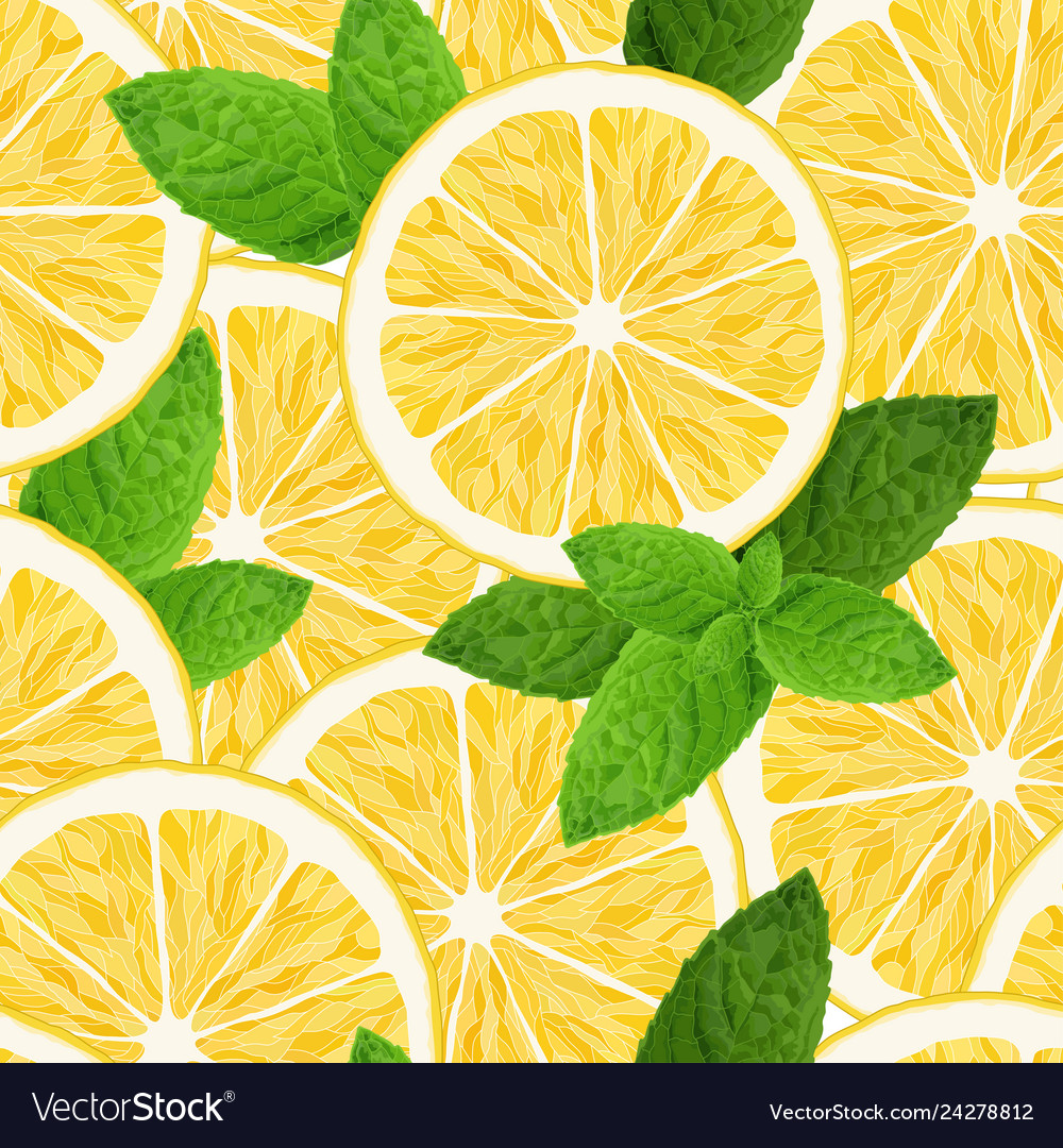Seamless pattern with lemon and mint on white