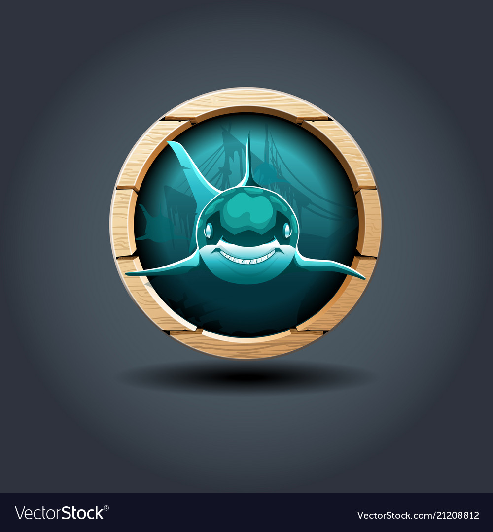 Shark wooden rounded badge icon for uigame