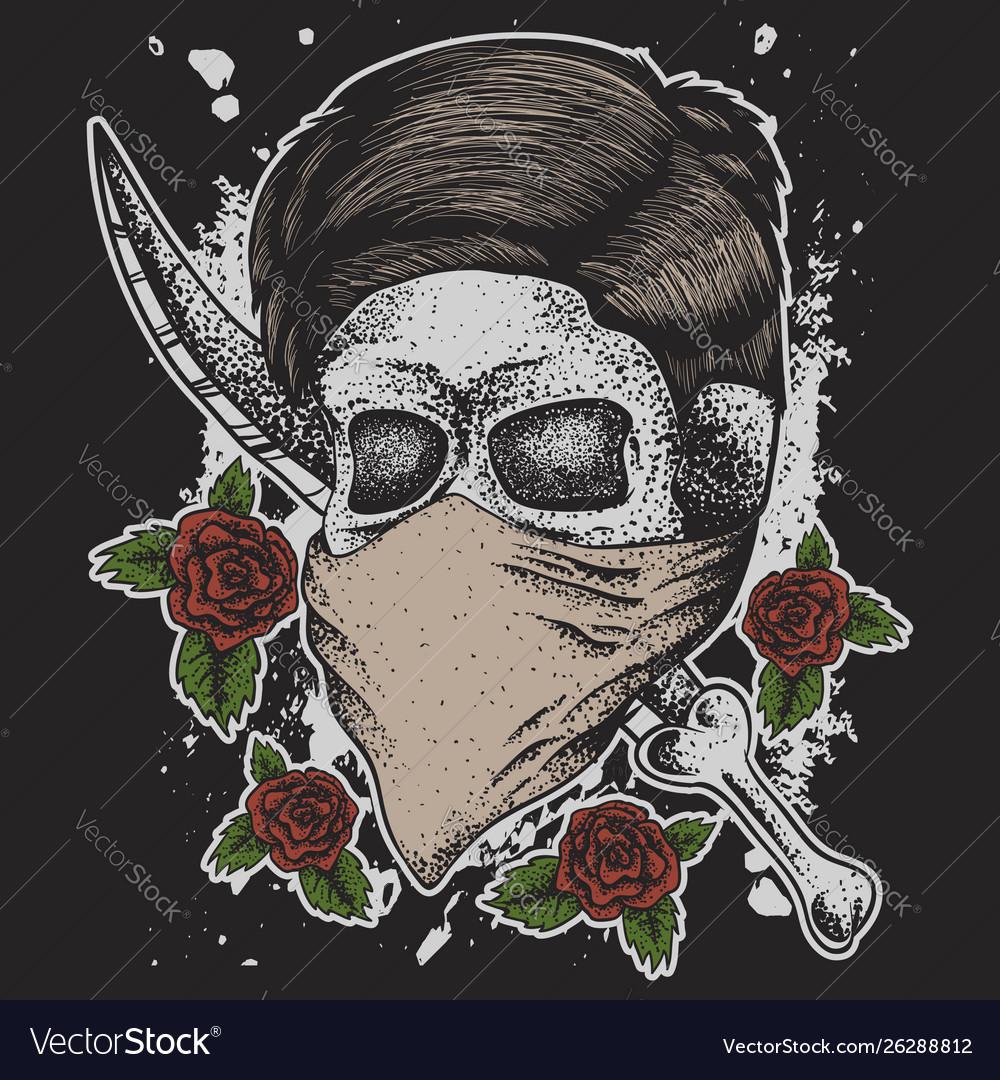 Skull man head dagger rose