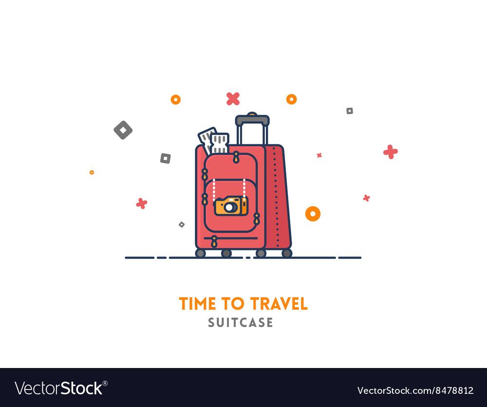 Travel concept Suitcase flat outline