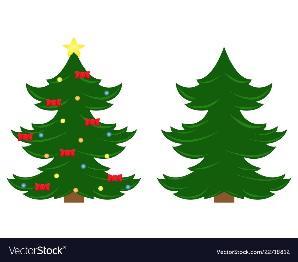 Two christmas trees christmas tree Royalty Free Vector Image