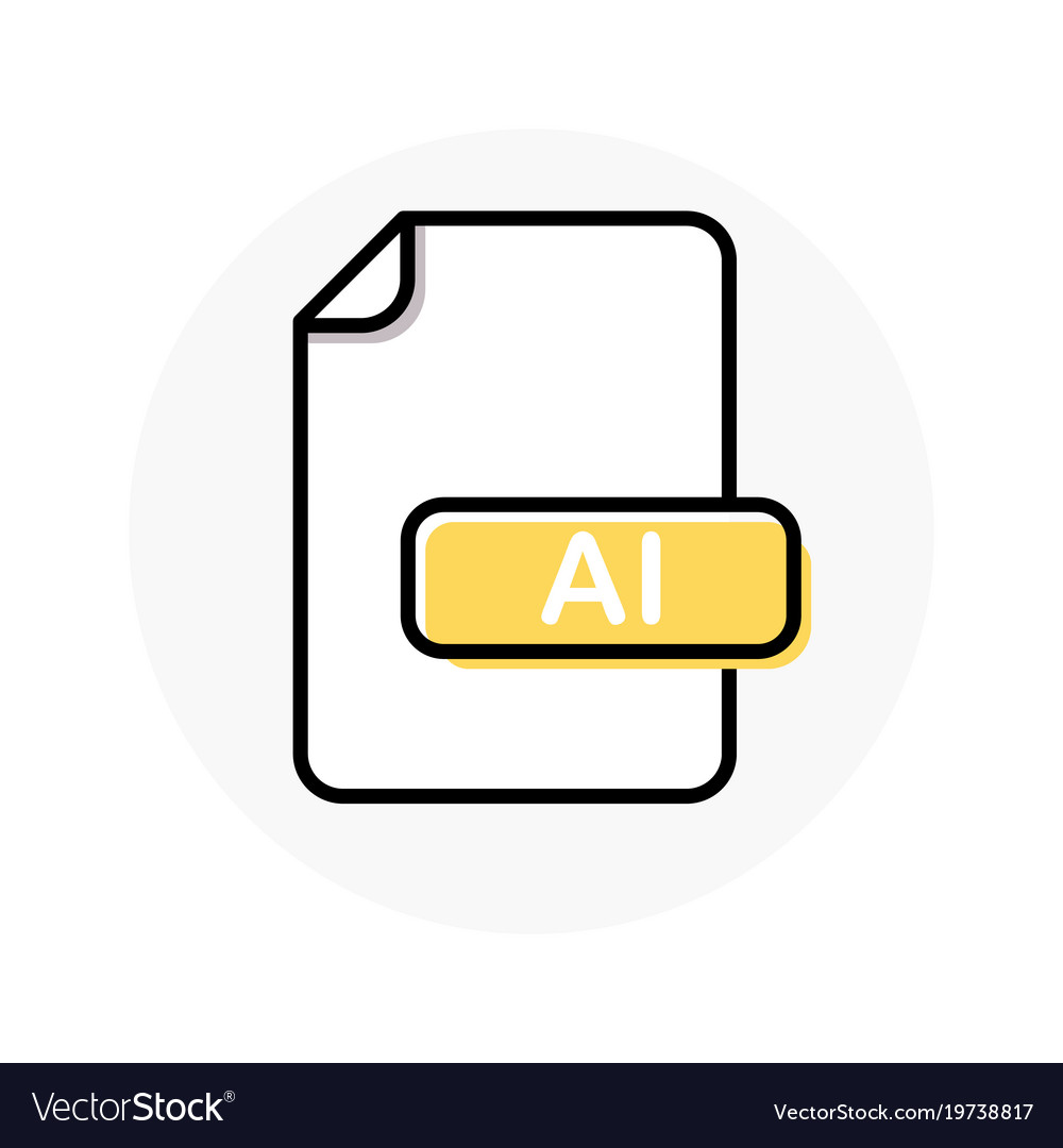 Ai file format extension color line icon
