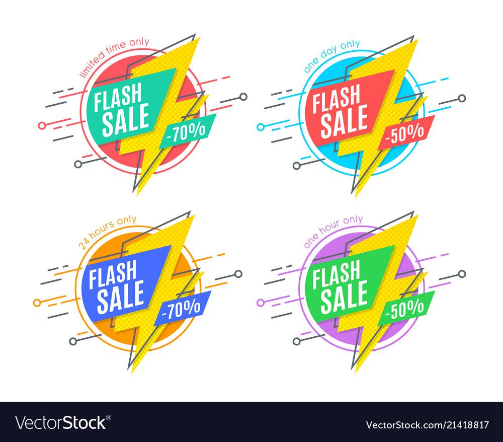 Flash sale promotion banner flat design price