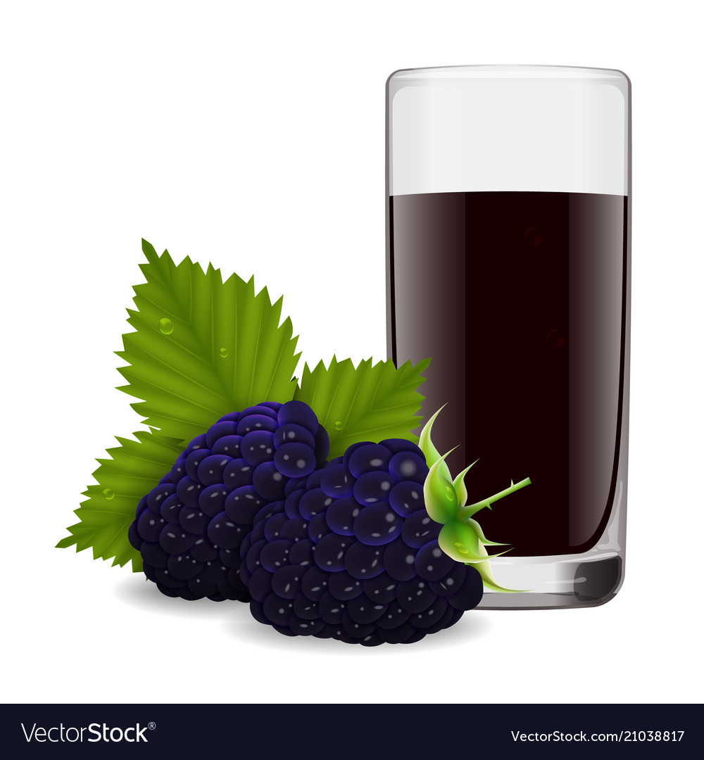 Glass of refreshing juice from ripe blackberry