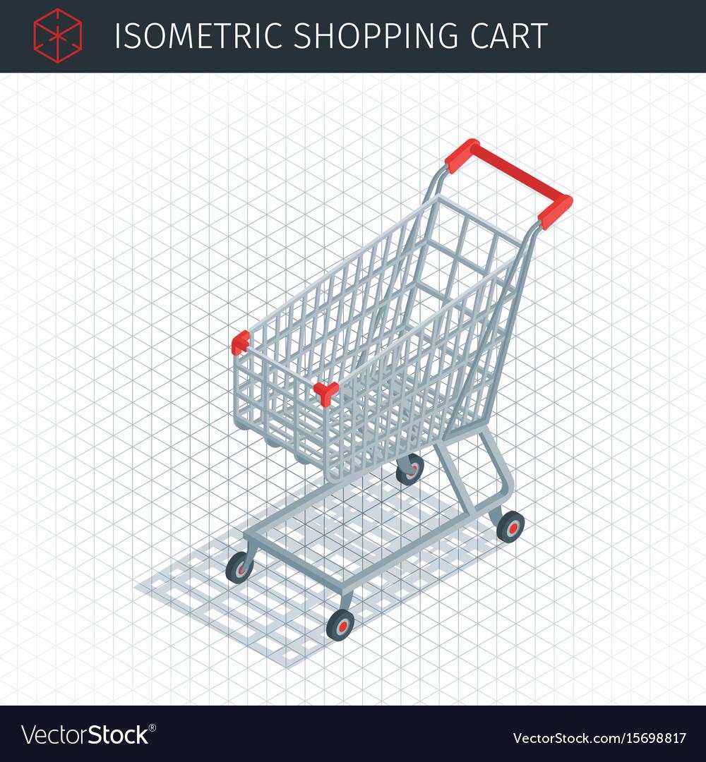 Isometric empty shopping cart vector image