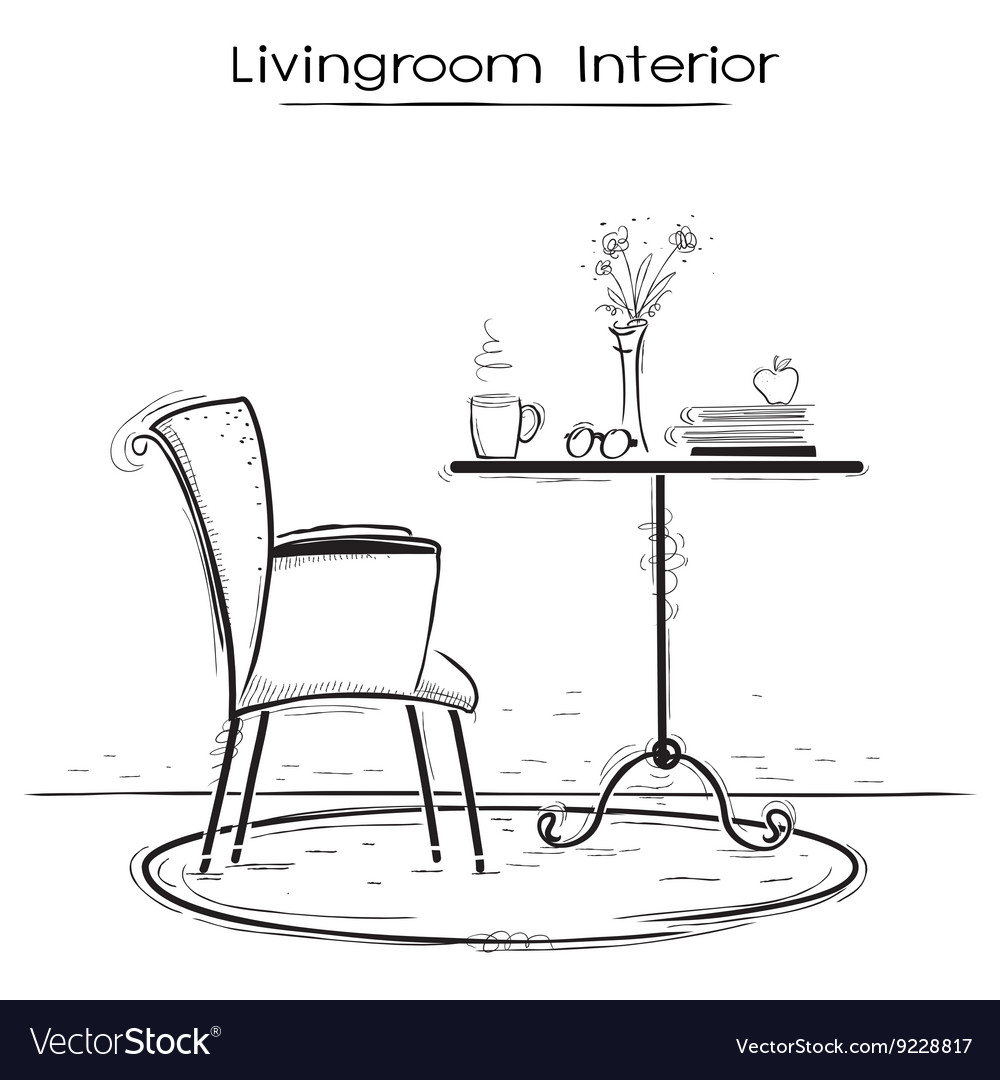 Livingroom interior for reading or relaxHand drawn