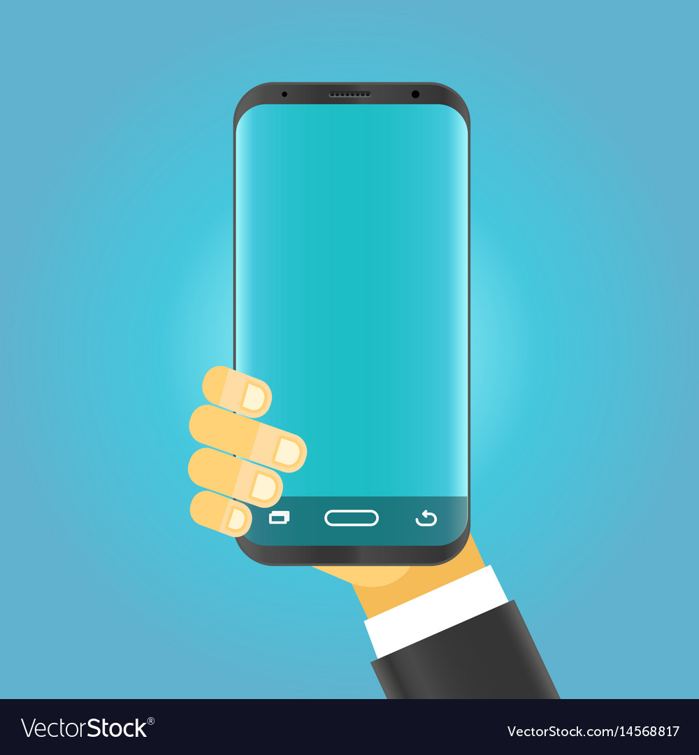 Man holding modern smartphone vector image