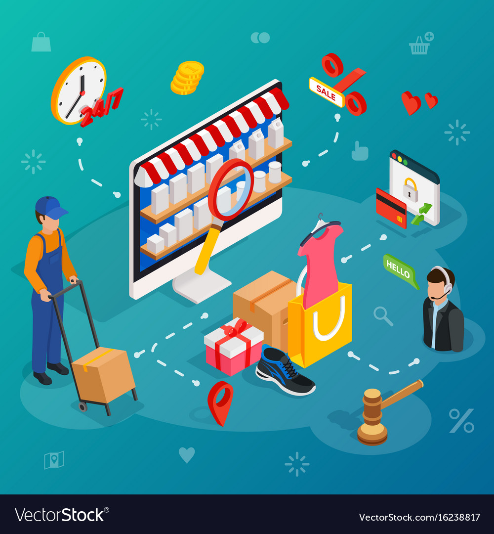 Online shopping with desktop pc concept e vector image