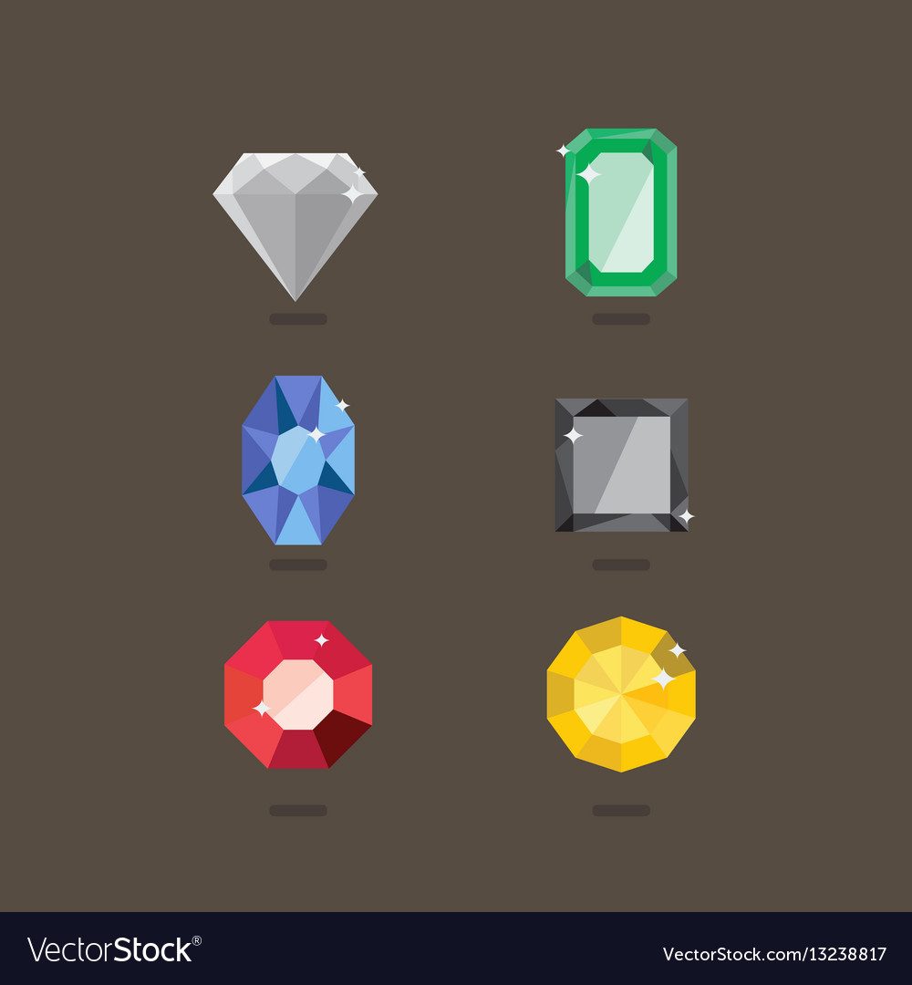 Set of jewel in flat style vector image