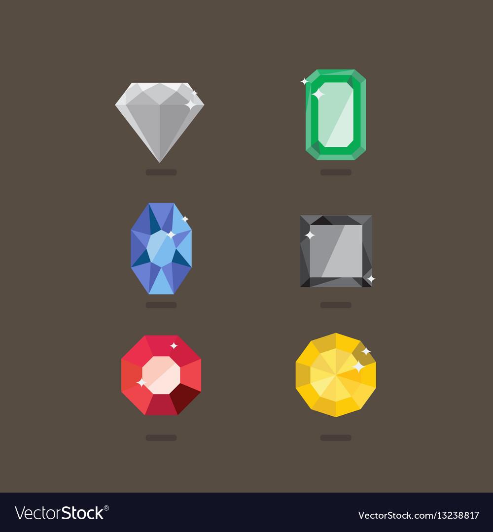 Set of jewel in flat style