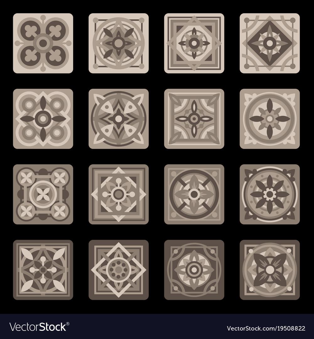 Brown portuguese ceramic mosaic tile floral set