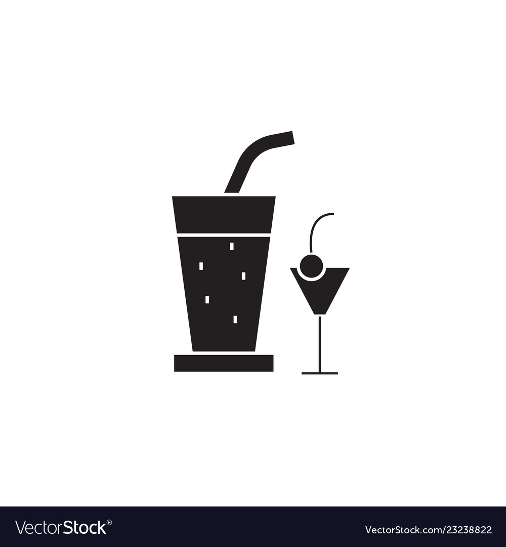 Cocktail drinks black concept icon
