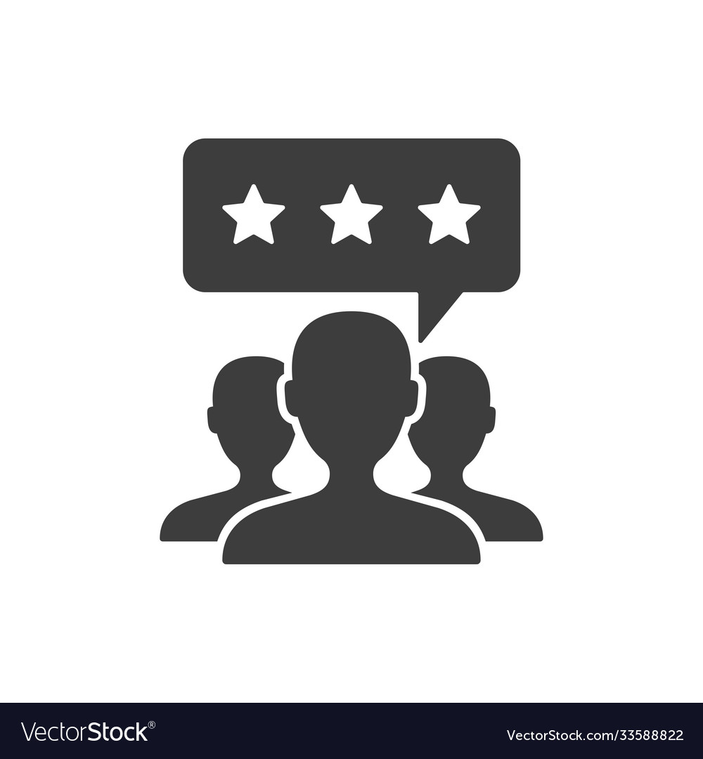 Customer review icon on white