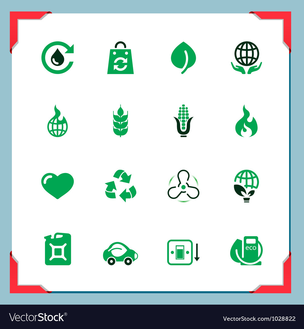 Ecology icons In a frame series vector image