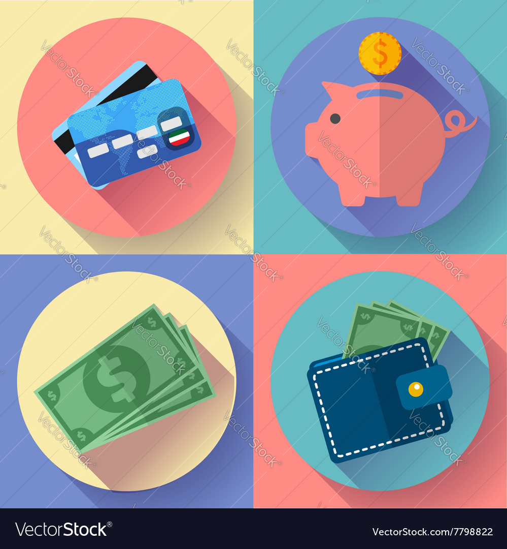 Icon Set Wallet credit card piggi and