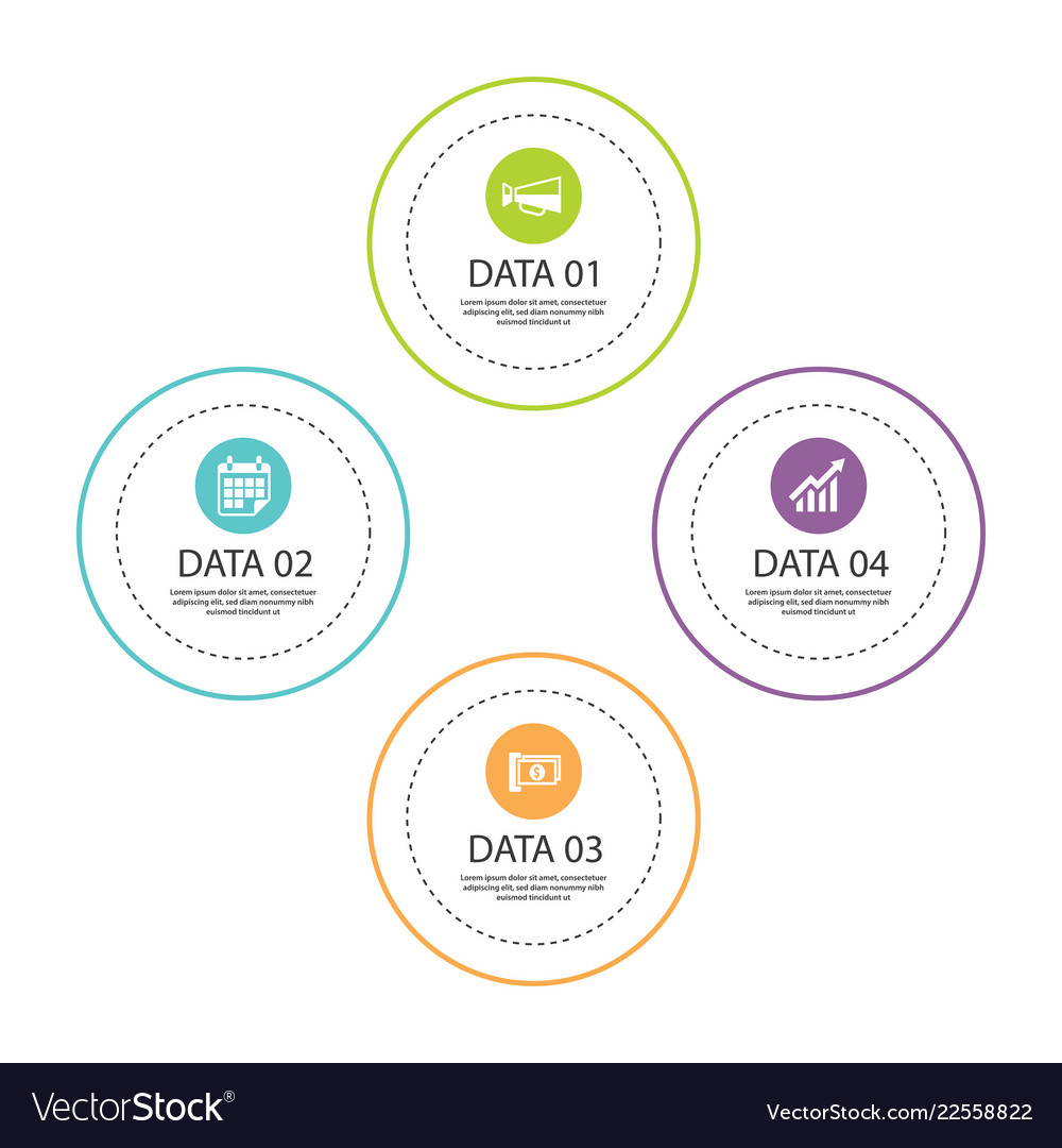 Infographics circle thin line with 4 data