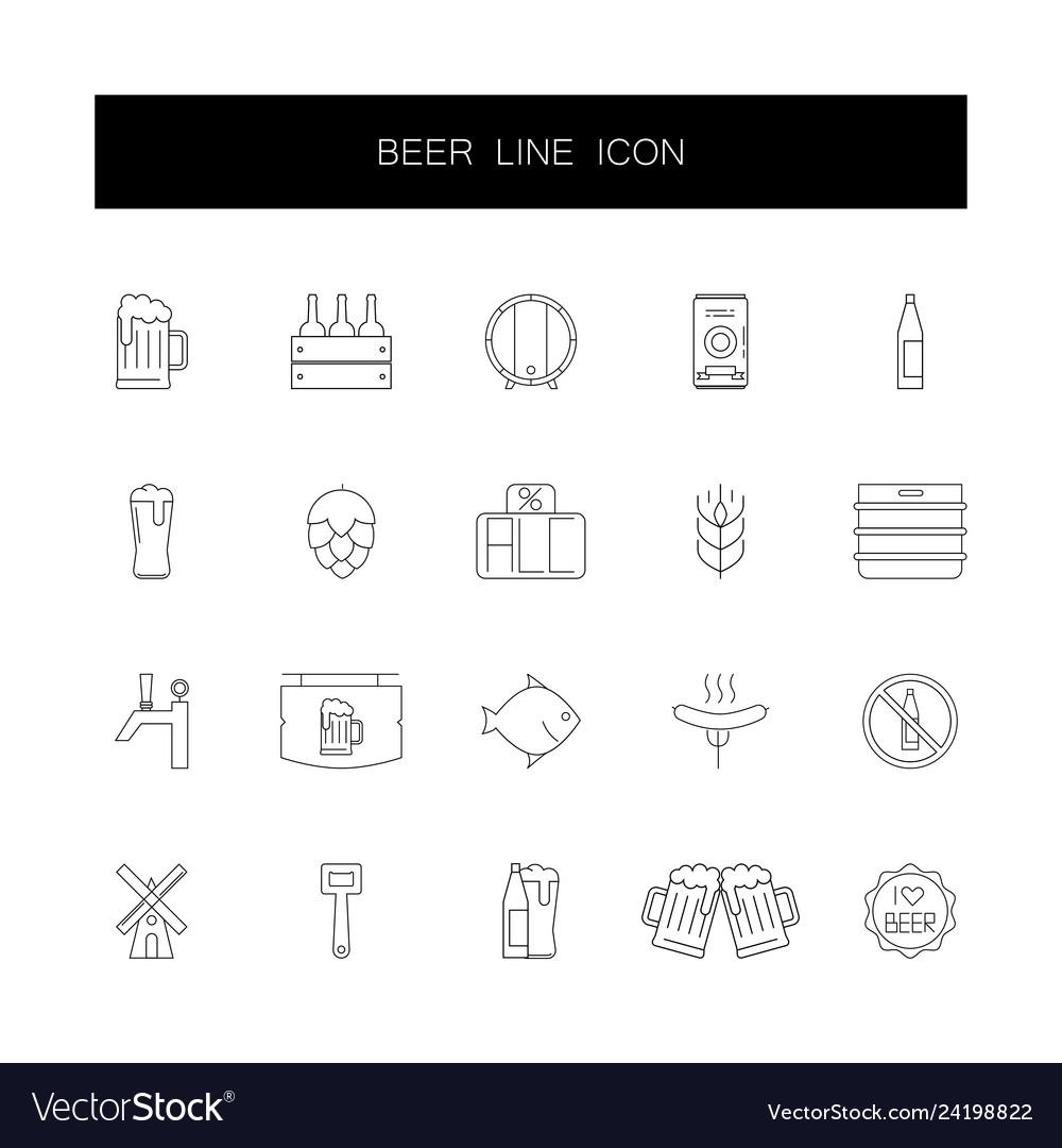 Line icons set beer pack