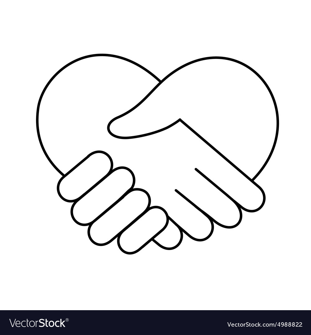 Linear heart made of hands icon