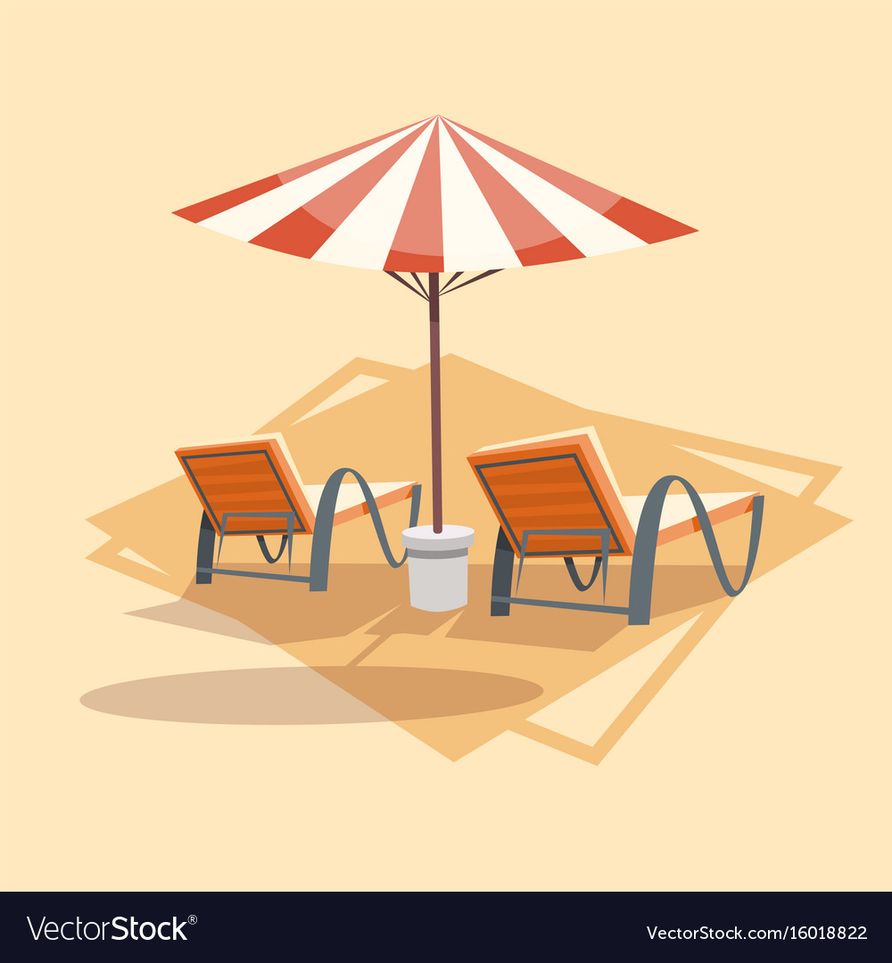Lungers under umbrella icon summer sea vacation